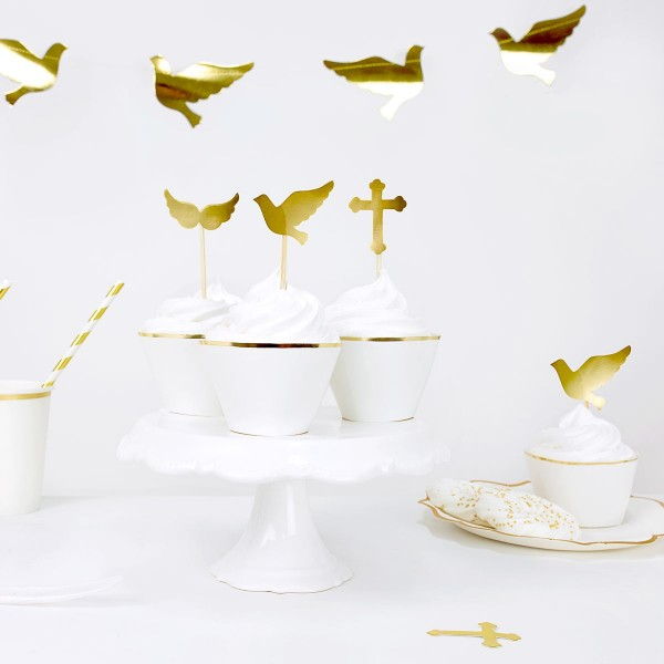 PartyDeko Cupcake Topper 1.heilige Kommunion Set 6-teilig
