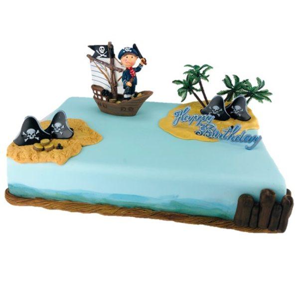 Tortendekoration Piratenjunge im Segelschiff