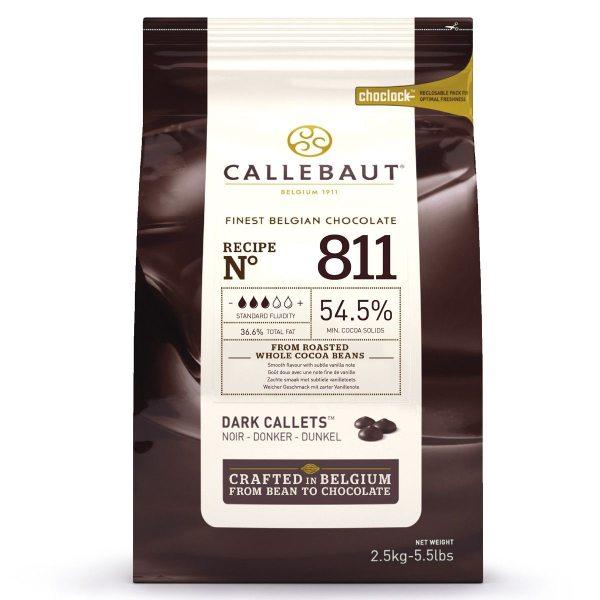 Callebaut Dunkle Schokoladenkuvertüre Zartbitter (54,5 %) 2,5kg im wiederverschließbaren Beutel
