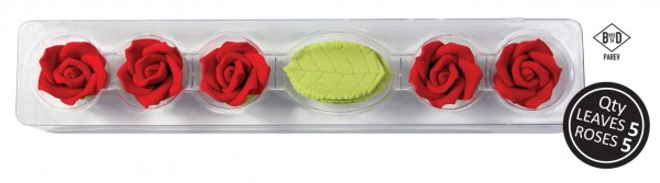 Zuckerrosen Set - 5 Rosen & Blätter - Rot