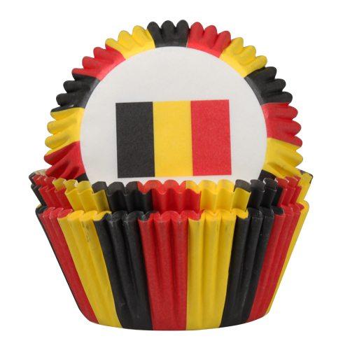 HOM Papier- Muffinbackform Belgische Flagge 50 Stück
