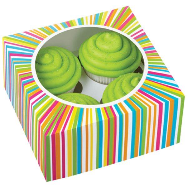 Wilton Cupcake Box bunt für 4 Stück/ 3er Pack