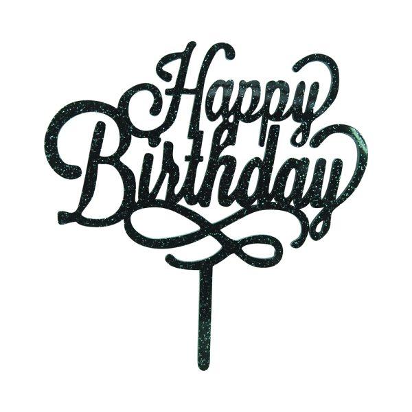 """Cake-Topper """"Happy Birthday"""" Glitter Schwarz"""