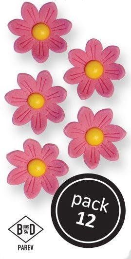 PME Zuckerblumen Gänseblümchen ca 2 cm - Pink - 12 Stück