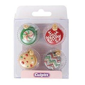 Culpitt Zucker Dekoration Weihnachtsbaumkugeln 12 Stück