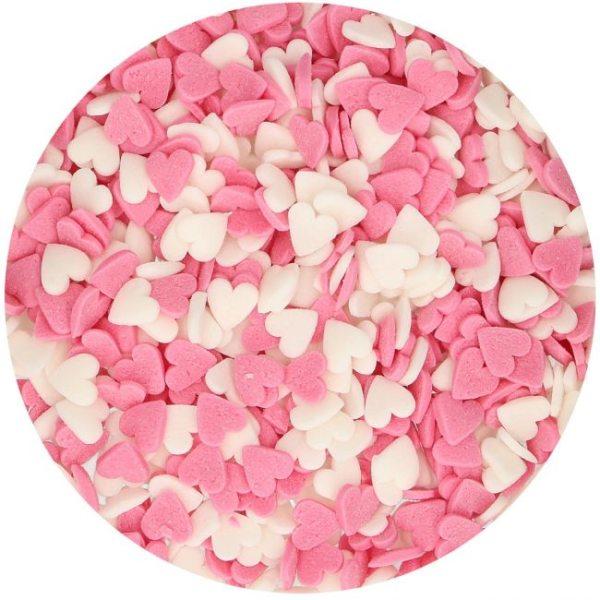 FunCakes Streudekor Zucker Herzen pink-weiß 60g