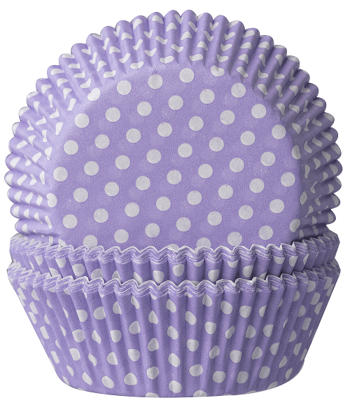 Muffinbackförmchen Flieder mit weißen Punkten - 60 Stück