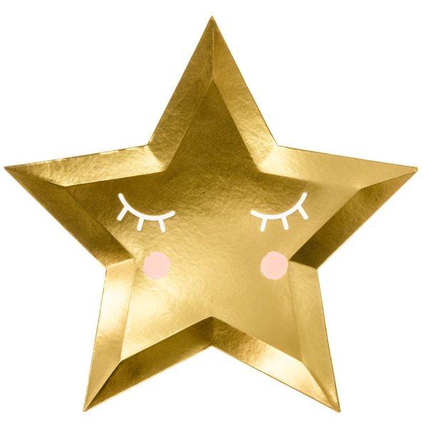 PartyDeco Teller- Goldene Sterne 27cm - 6 Stück