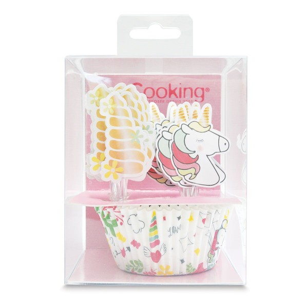 Scrapcooking Dekoration Baking Cup & Topper Einhorn Set/24