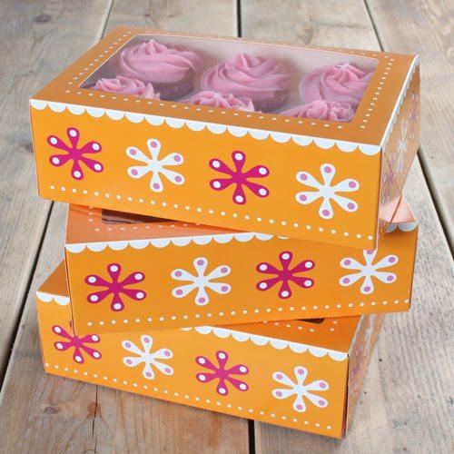 Cupcake Box für 6 Stück- 24x16x8cm - / 3er Pack